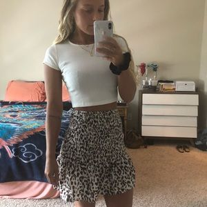 Misguided Leopard Print Rouched Skirt